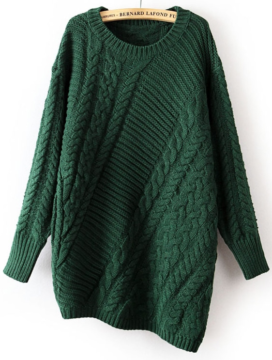 Green Long Sleeve Asymmetrical Cable Knit Sweater -SheIn(Sheinside)