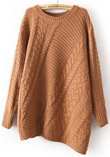 Coffee Long Sleeve Asymmetrical Cable Knit Sweater