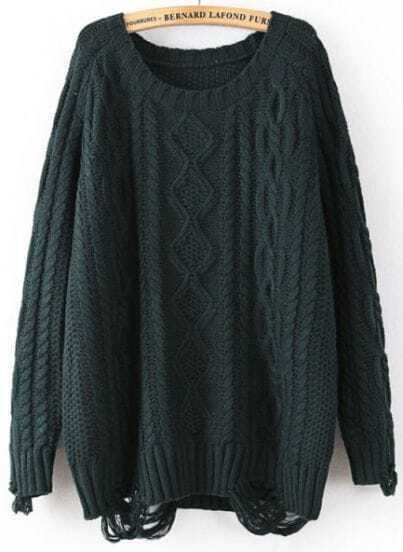 Green Long Sleeve Ripped Cable Knit Sweater