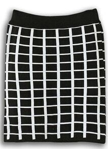 Black White Plaid Bodycon Skirt