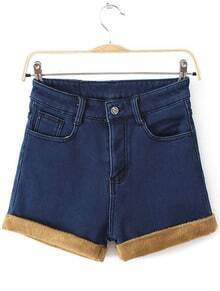 Blue High Waist Contrast Trims Denim Shorts