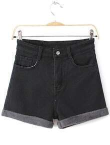 Black High Waist Contrast Trims Denim Shorts