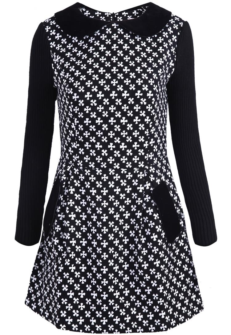 Long Sleeve Knit Dress Pattern : Black Long Sleeve Snowflake Pattern Knit Dress -SheIn(Sheinside)
