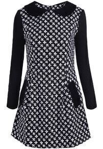 Black Long Sleeve Snowflake Pattern Knit Dress