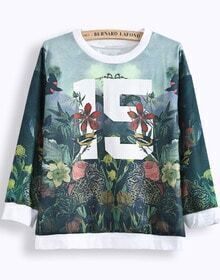 Green Long Sleeve Floral 15 Print Sweatshirt