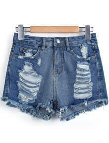Blue Pockets Ripped Fringe Denim Shorts