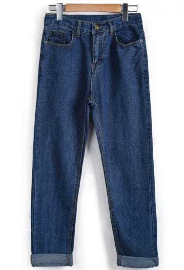 Blue Pockets Flange Denim Pant