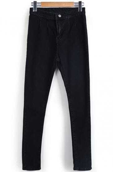 Black High Waist Slim Denim Pant