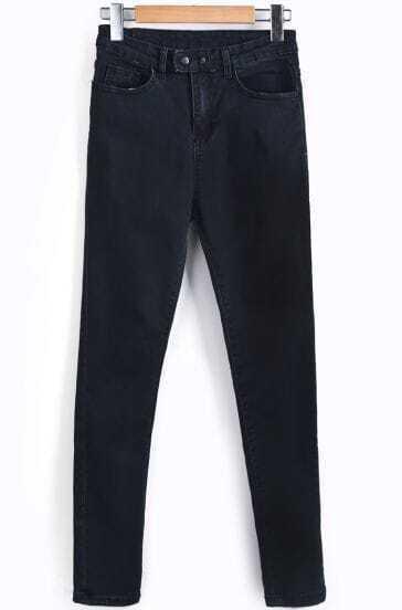Black Pockets Slim Denim Pant