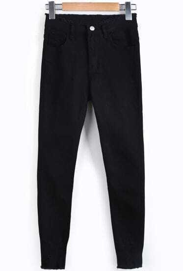 Black Pockets Ripped Slim Denim Pant