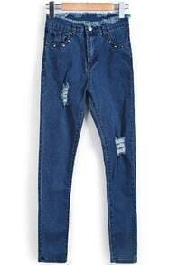 Blue Fringe Rivet Denim Pant
