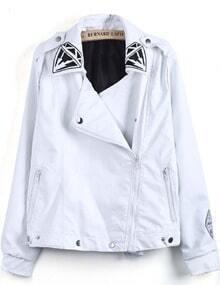 White Long Sleeve Virgin Mary Print PU Jacket