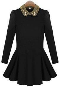 Black Bead Lapel Long Sleeve Pleated Dress