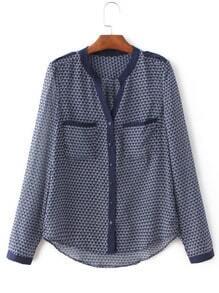 Blue Long Sleeve Geometric Print Pockets Blouse