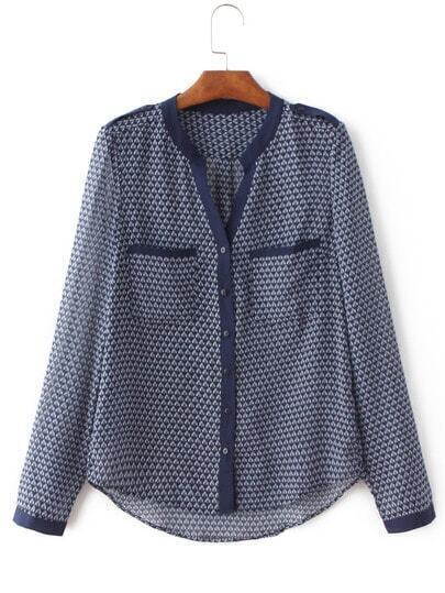 Blue Long Sleeve Geometric Print Pockets Blouse