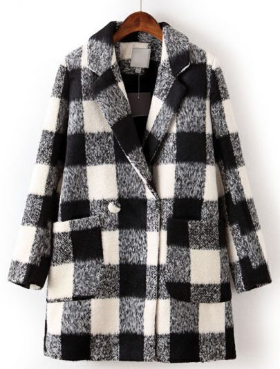 Black White Plaid Lapel Long Sleeve Pockets Coat
