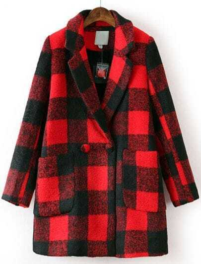 Black Red Plaid Lapel Long Sleeve Pockets Coat