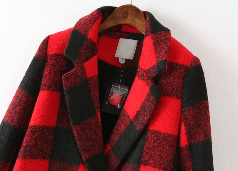 Black Red Plaid Lapel Long Sleeve Pockets Coat -SheIn(Sheinside)