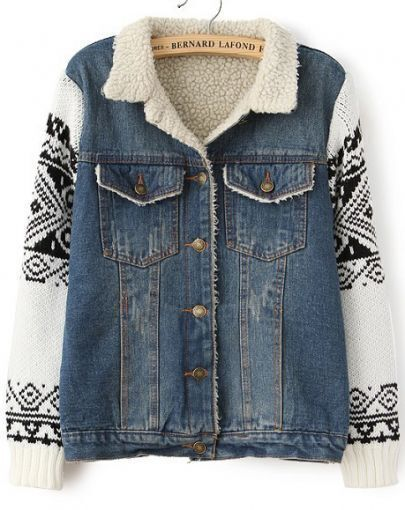 Blue Contrast Geometric Pattern Long Sleeve Denim Coat