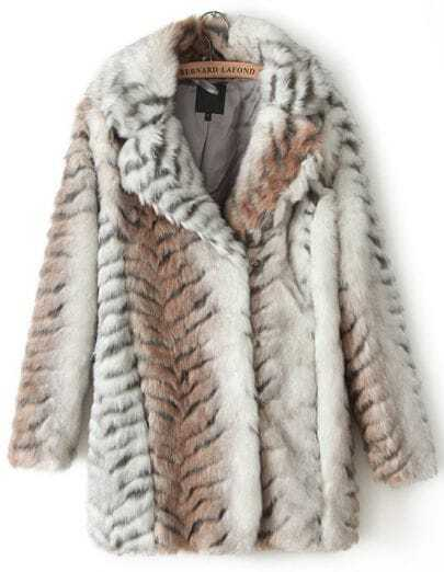 Apricot Long Sleeve Leopard Faux Fur Coat