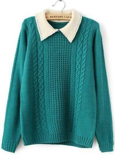 Green Contrast Lapel Long Sleeve Cable Knit Sweater