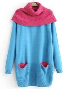 Blue Removable Shawl Long Sleeve Pockets Sweater