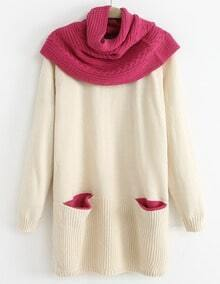 Beige Removable Shawl Long Sleeve Pockets Sweater