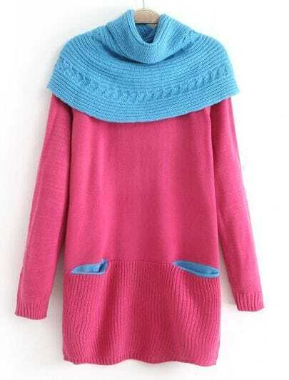 Rose Red Removable Shawl Long Sleeve Pockets Sweater