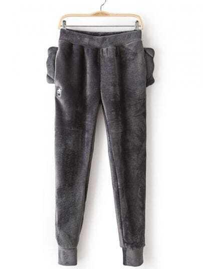 Grey Loose Panda Ears Velvet Pant