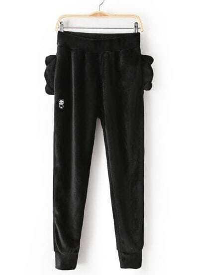 Black Loose Panda Ears Velvet Pant