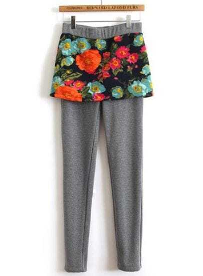 Grey Floral Skirt Leggings