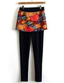 Navy Floral Skirt Leggings
