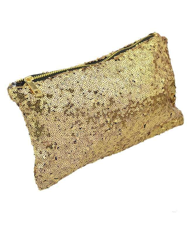 Gold Sequined Zipper Clutch Bag