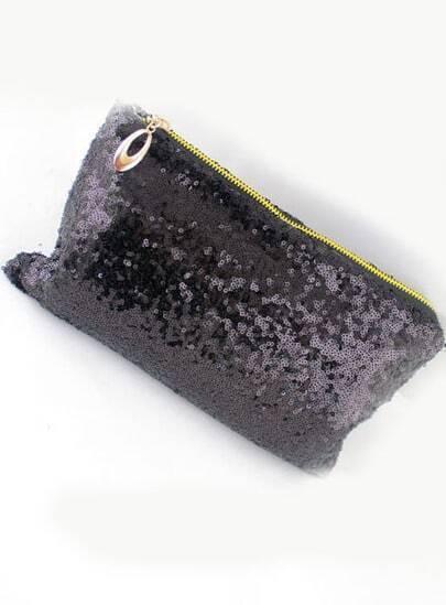 Black Sequined Zipper Clutch Bag