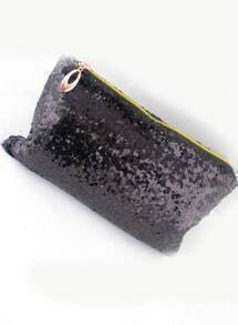 Black Sequined Zipper Clutch Bag