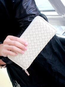 White Weave Zipper Clutch Bag