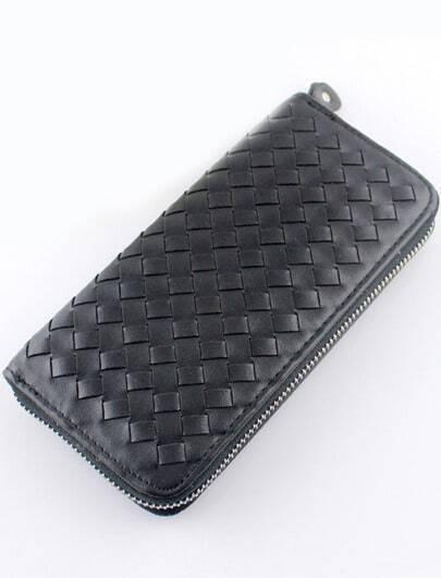 Black Weave Zipper Clutch Bag