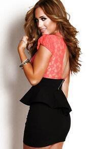 Pink Black Contrast Lace Ruffle Backless Bodycon Dress
