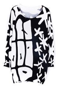 Black White Long Sleeve Snowflake Print Sweater Dress