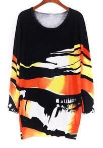Black Orange Long Sleeve Print Sweater Dress