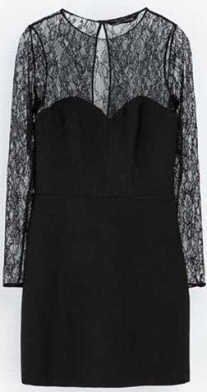 Black Contrast Lace Sleeve Backless Dress