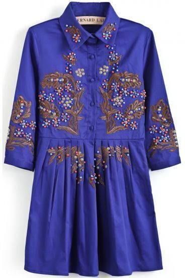Blue Half Sleeve Bead Embroidered Pleated Dress