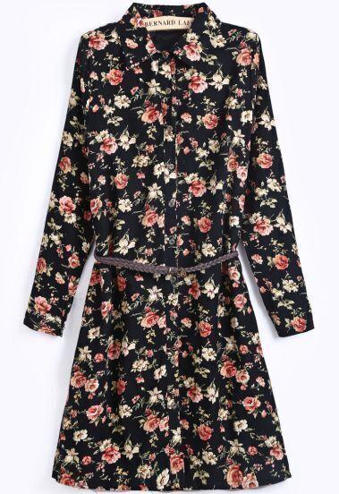 Black Lapel Long Sleeve Floral Loose Dress