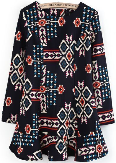 Navy Long Sleeve Geometric Print Ruffle Dress