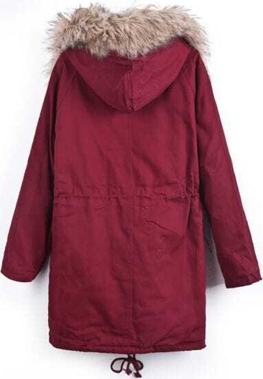 Wine Red Removable Hooded Long Sleeve Parka -SheIn(Sheinside)