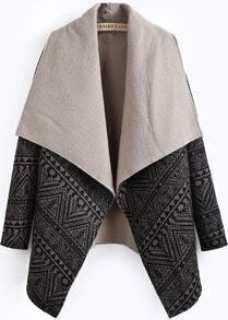 Black Lapel Long Sleeve Geometric Pattern Coat