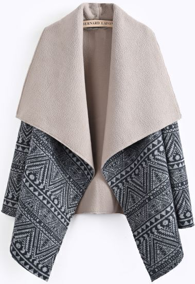 Coffee Lapel Long Sleeve Geometric Pattern Coat