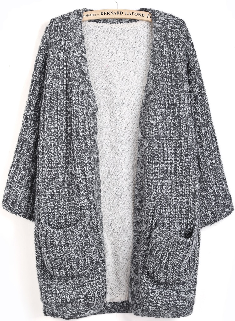 Grey Long Sleeve Pockets Knit Cardigan -SheIn(Sheinside)