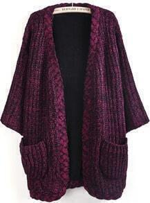 Wine Red Long Sleeve Pockets Knit Cardigan