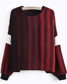 Red Gradients Long Sleeve Striped Blouse